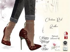 *DEMO* .::Pretty Things::. Red Leather Christmas Slink High Shoes