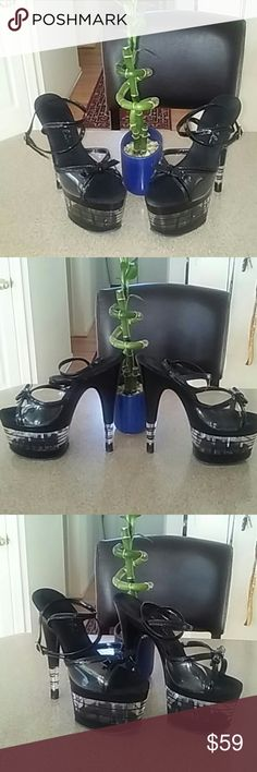 """Ellie - stack  6.75"""" Platform Stelletoes 6.76"""" stelletoe with a 2.75"""" clear and black stack platform open toe with a little bow toe with ankle straps. In good condition some minor scratches on the clear portion in last photo from storage. Very sexy stelletoe. Ellie Shoes Platforms"""