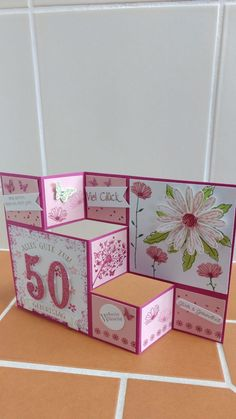 Today I want to show you a Tri Fold Shutter card for the birthday and Step Cards, 21 Cards, Tri Fold Cards, Fancy Fold Cards, Folded Cards, Card Making Tips, Making Ideas, Pop Up Box Cards, Mini Album Tutorial