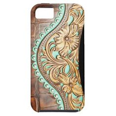 Floral Golden Tooled Accent on Leather Look iPhone 5 Case