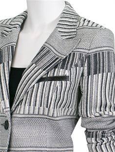 Smythe Welt Tailored Blazer in Gray | Leather trimmed!!! OMG... pERRY