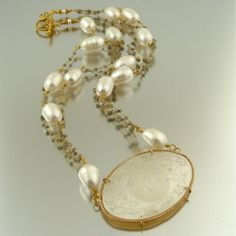Le Jeton - Antique Chinese Game Counter Pendant with Raw Diamonds and Freshwater Baroque Pearls Necklace