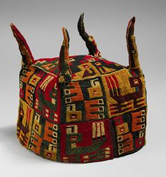 Four-Cornered Hat Date: century Geography: Peru Culture: Wari Medium: Camelid hair Dimensions: H. Peru Culture, Peruvian Textiles, Inca, Headgear, Metropolitan Museum, Art And Architecture, Headdress, Textile Art, Fascinator