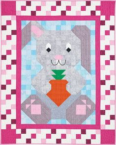 Bunny Patch Pal Quilt Kit: Cuddle up to a carrot-loving rabbit from the Quiltmaker Patch Pals Collection.