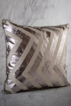 Funky take on chevrons - silver pillow