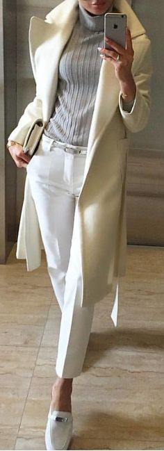 #winter #outfits white trench coat