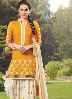 Patiala Shalwar Kameej In Yellow . Shop at - http://www.gravity-fashion.com/patiala-shalwar-kameej-in-yellow-gf8141085.html