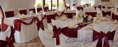 Esküvői dekoráció, bordó esküvői dekoráció