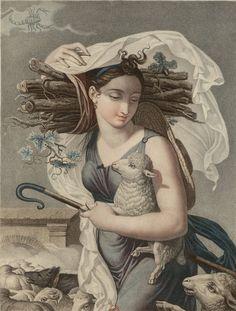 Illustration by Louis Lafitte (1770-1828), ca 1794, Brumaire, Calandrier révolutionnaire, Paris.