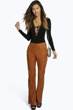Rhea Pocket Front Faux Suede Flared Trouser