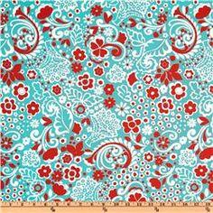 Premier Prints Jenn Twill Harmony/Red $7.48 per yard #fabric