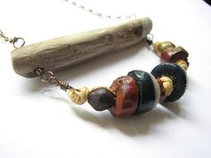 Driftwood Jewelry - Beaded Rustic Natural Driftwood Necklace Boho Casual -  Beach Jewelry