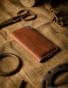 Leather iPhone Case / Wallet with Card Pockets | Classic Orange