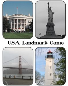 Landmark Game -- great way to teach preschool kids about the United States.