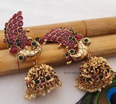 Gold Jewelry, Women Jewelry, Jewellery, Rose Gold Heart Ring, Jhumka Designs, Peacock Design, Imitation Jewelry, South India, Jewels
