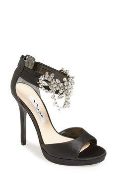 Women's Nina 'Fabiola' Satin & Crystal Ankle Strap Platform Sandal