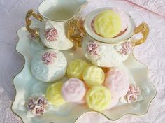 Fabuleux Pink and Yellow Sucre Moule, Molded Sugar Roses, The Perfect Touch For Your Coffee or Tea.. One Dozen