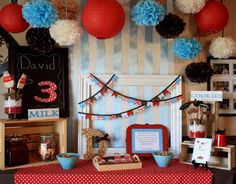 What a pretty milk and cookies dessert table