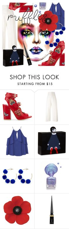 """Add Some Flair: Ruffled Tops"" by kari-c ❤ liked on Polyvore featuring Laurence Dacade, Jacquemus, MANGO, Lulu Guinness, BaubleBar, Christian Louboutin and ruffeldtops"
