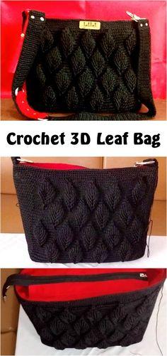 Crochet 3D Leaf Bag