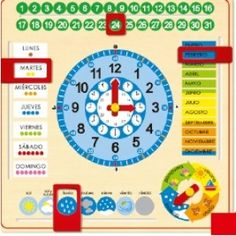 Goula Wooden Calendar Clock Product Features Learn how to tell the time Learn about days, months and seasons Made of high quality wood Bright, colourful and ta Reception Class, Wooden Calendar, Toys For 1 Year Old, Educational Toys For Toddlers, Presents For Kids, Wooden Clock, Telling Time, The 5th Of November, School Organization