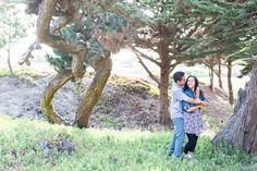 Natural Light Tree Cove Matching Couple Arms Around Pose | Baker-Beach-Engagement-Photographer-San Francisco-TréCreative