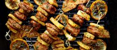 Asian-Style Chicken and Pineapple Sizzling Skewers - Joy Bauer Kebab Recipes, Grilling Recipes, Cooking Recipes, Healthy Recipes, Healthy Meals, Chicken Flavors, Easy Chicken Recipes, Butter Chicken, Chorizo