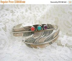 Navajo Sterling Feather Cuff Bracelet by AtticDustAntiques on Etsy