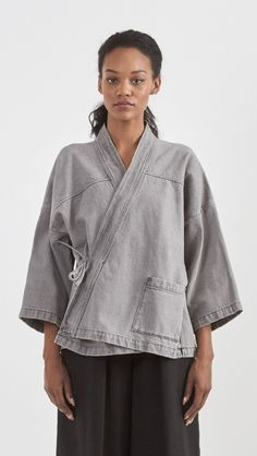 Shane Mote Satori Kimono Denim Jacket in Graphite | The Dreslyn
