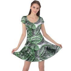 Biohazard sign pattern, silver and light green bio-waste symbol, toxic fallout, hazard warning Cap Sleeve Dress Fallout, Fit And Flare, Cap Sleeves, Symbols, Sign, Formal Dresses, Womens Fashion, Green, Girls