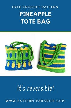 Free Crochet Pattern: Make this pretty reversible Pineapple Tote Bag for two unique looks on Pattern-Paradise.com #crochet #patternparadisecrochet #freepattern #bag