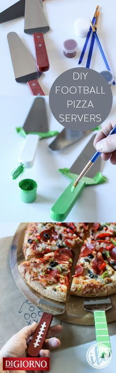 Equip your all-pro crew on game day w/these football-themed pizza servers from our partner, @inspiredbycharm . Supplies: DIGIORNO Original RISING CRUST pizza, wood handled pizza servers, washi tape, paint, brushes. 1. Tape metal on server w/washi tape. 2. Paint handle in solid color. 3. Add football design once paint is dry. 4. Remove washi tape. 5. Use new festive servers to dish out individual slices of DIGIORNO Original RISING CRUST pizza; enjoy!