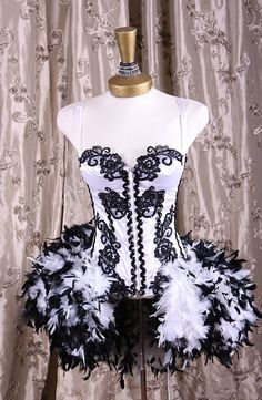 Black and White Burlesque Corset with Feather Bustle