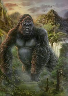 Pop Culture Art - King Kong by Cris Ortega Cris Ortega, Giant Monster Movies, King Kong Vs Godzilla, Gorilla Tattoo, Silverback Gorilla, Arte Nerd, Pop Culture Art, Planet Of The Apes, Animal Drawings