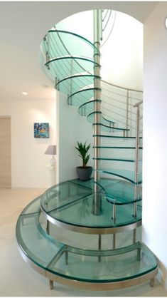 Use these awesome spiral staircase in your home. Over thirty spiral staircase ideas you can implement in your design. Feed your design ideas now. Glass Stairs Design, Spiral Stairs Design, Staircase Railing Design, Home Stairs Design, Interior Stairs, Modern Staircase, Ceiling Design, Home Interior Design, House Design