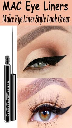 MAC Eye Liners - Make Eye Liner Style Look Great Mac Eyeliner, Makeup Tips Eyeshadow, Eye Makeup Steps, Simple Eye Makeup, Natural Eye Makeup, Beauty Makeup Tips, Makeup Cosmetics, Eyeshadow Palette, Makeup Brands