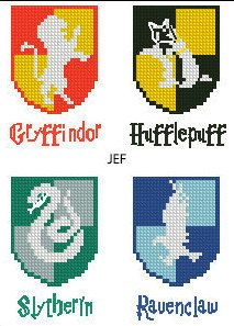 This is a cross-stitch pattern Hogwarts Houses Movie Emblem Gryffindor Slytherin Hufflepuff Ravenclaw Logo Crest Harry Potter. A finished piece from this pattern would make an amazing gift for any Harry Potter lover. A little patience, and it will be the first big step for you and your