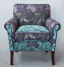 "Salon Chair in Lavender Vine by Mary Lynn O'Shea (Upholstered Chair) (33"" x 30"")"