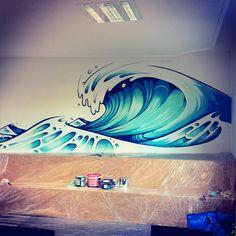 Veneficus Wave Mural on Behance Graffiti Wall Art, Murals Street Art, Mural Wall Art, Mural Painting, Street Art Graffiti, Tenacious D, Beach Mural, Bathroom Artwork, School Murals