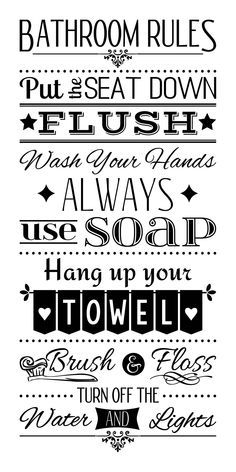 Bathroom Rules Wash Your Hands Wall Decal – kids bathroom decor Bathroom Quotes, Bathroom Signs, Bathroom Humor, Bathroom Decals, Images Noêl Vintages, Family Rules, Family Wall Quotes, Mom Quotes, Circuit Projects