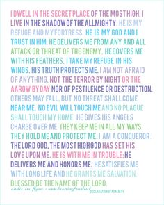 What a beautifully printed free copy of a wonderful (aren't they all? Thanks, Andee Eve @ bearing fruit: Psalm 91 Kjv, Psalm 91 Prayer, Psalms, Wonderful Counselor, Prayer Wall, Deliver Me, Daily Word, Bible Teachings, Daughters Of The King