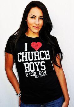 BLACK- I LOVE CHURCH BOYS Christian T-Shirt by JCLU Forever Christian t-shirts $17.99