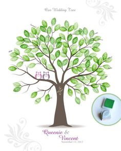 Stamp Me Wedding Tree Guest Book Poster with Hand Carved Leaf Stamp & Ink Pad, Personalized Wedding Tree w/ Owls, 16x20