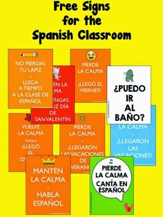 for the Spanish Classroom {Freebie} This freebie will add more fun to your classroom! It includes 9 signs in Spanish. Enjoy, CarolinaThis freebie will add more fun to your classroom! It includes 9 signs in Spanish. Spanish Lessons For Kids, Learning Spanish For Kids, Spanish Basics, Spanish Activities, Teaching Spanish, Spanish Games, Listening Activities, Spanish Classroom Decor, Classroom Signs