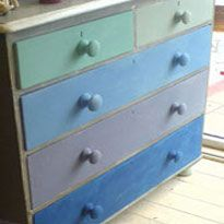 Like the different colored drawers done with Annie Sloan paint.