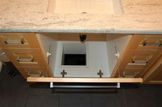 Laundry chute hidden in cabinet Laundry Chute, Foundation Repair, Construction, Cabinet, Mirror, Projects, Furniture, Bath, Home Decor
