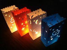 Livraison gratuite 30 pcs 26 * 15 * 9 cm Flame Retardant papier bougie coeur sac Luminary sacs en papier lanterne pour le mariage parti décorations
