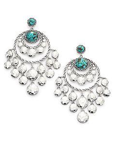 John Hardy Palu Turquoise Turquoise Earrings, Turquoise Chandelier, Silver Chandelier, Sterling Silver Chains, Sterling Silver Earrings, John Hardy, Chain Earrings, Chandelier Earrings, Jewel Box