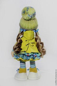 Купить Царевна Л. - оливковый, голубой цвет, зеленый, кукла ручной работы, вязание спицами