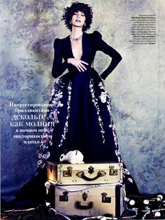 Alexandra Hochguertel in ELIE SAAB Haute Couture Autumn Winter 2015-16 shot by Alvaro Beamud Cortes and styled by Daria Anichkina for the December 2015 issue of Tatler Russia.